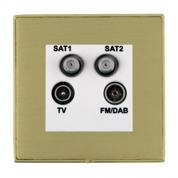 Hamilton Linea-Duo CFX Polished Brass/Satin Brass TV+FM+SAT+SAT (DAB Compatible) with White Insert