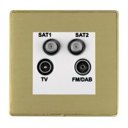Hamilton Linea-Duo CFX Satin Brass/Satin Brass TV+FM+SAT+SAT (DAB Compatible) with White Insert
