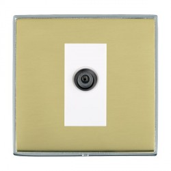 Hamilton Linea-Duo CFX Bright Chrome/Polished Brass 1 Gang Digital Satellite with White Insert