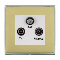 Hamilton Linea-Duo CFX Bright Chrome/Polished Brass TV+FM+SAT (DAB Compatible) with White Insert