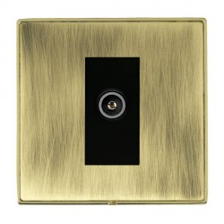 Hamilton Linea-Duo CFX Polished Brass/Antique Brass 1 Gang TV (Female) with Black Insert