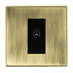 Hamilton Linea-Duo CFX Polished Brass/Antique Brass 1 Gang TV (Male) with Black Insert