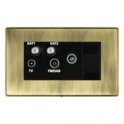 Hamilton Linea-Duo CFX Antique Brass/Antique Brass TV+FM+SAT+SAT (DAB Compatible)+TV+TCS with Black Insert