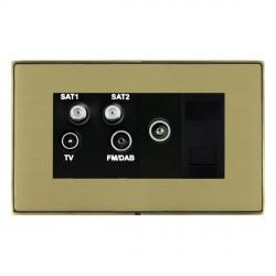 Hamilton Linea-Duo CFX Antique Brass/Satin Brass TV+FM+SAT+SAT (DAB Compatible)+TV+TCS with Black Insert