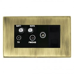 Hamilton Linea-Duo CFX Polished Brass/Antique Brass TV+FM+SAT+SAT (DAB Compatible)+TV+TCS with Black Insert