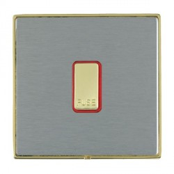 Hamilton Linea-Duo CFX Polished Brass/Satin Steel 1 Gang 13A Fuse + Red Neon Halo with Red Insert