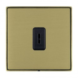 Hamilton Linea-Duo CFX Antique Brass/Satin Brass 1 Gang 2 Way Key Switch with Black Insert