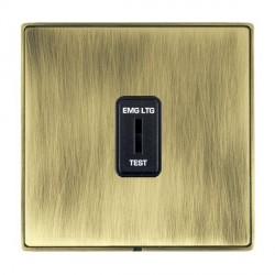 Hamilton Linea-Duo CFX Antique Brass/Antique Brass 1 Gang 2 Way Key Switch 'EMG LTG TEST' with Black Insert