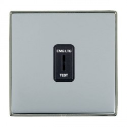 Hamilton Linea-Duo CFX Black Nickel/Bright Steel 1 Gang 2 Way Key Switch 'EMG LTG TEST' with Black Insert