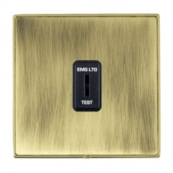 Hamilton Linea-Duo CFX Polished Brass/Antique Brass 1 Gang 2 Way Key Switch 'EMG LTG TEST' with Black Insert