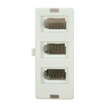 White Telephone Socket Tripler