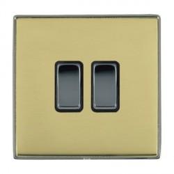 Hamilton Linea-Duo CFX Black Nickel/Polished Brass 2 Gang 10amp 2 Way Rocker with Black Insert