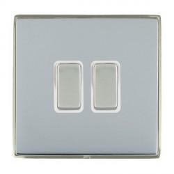 Hamilton Linea-Duo CFX Satin Nickel/Bright Steel 2 Gang 10amp 2 Way Rocker with White Insert