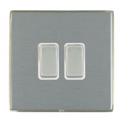 Hamilton Linea-Duo CFX Satin Nickel/Satin Steel 2 Gang 10amp 2 Way Rocker with White Insert
