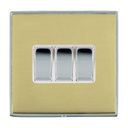 Hamilton Linea-Duo CFX Bright Chrome/Polished Brass 3 Gang 10amp 2 Way Rocker with White Insert