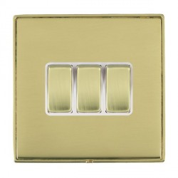 Hamilton Linea-Duo CFX Polished Brass/Polished Brass 3 Gang 10amp 2 Way Rocker with White Insert