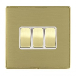 Hamilton Linea-Duo CFX Satin Brass/Satin Brass 3 Gang 10amp 2 Way Rocker with White Insert
