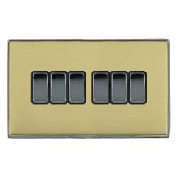 Hamilton Linea-Duo CFX Black Nickel/Polished Brass 6 Gang 10amp 2 Way Rocker with Black Insert