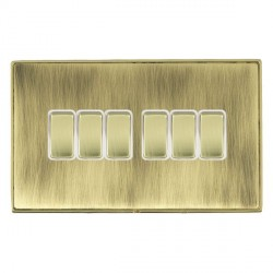 Hamilton Linea-Duo CFX Polished Brass/Antique Brass 6 Gang 10amp 2 Way Rocker with White Insert