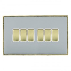 Hamilton Linea-Duo CFX Polished Brass/Bright Steel 6 Gang 10amp 2 Way Rocker with White Insert