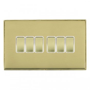 Hamilton Linea-Duo CFX Polished Brass/Polished Brass 6 Gang 10amp 2 Way Rocker with White Insert