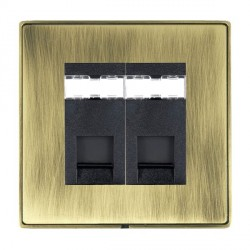 Hamilton Linea-Duo CFX Antique Brass/Antique Brass 2 Gang RJ12 Outlet Unshielded with Black Insert