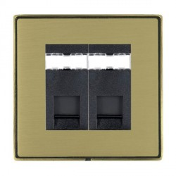 Hamilton Linea-Duo CFX Antique Brass/Satin Brass 2 Gang RJ12 Outlet Unshielded with Black Insert
