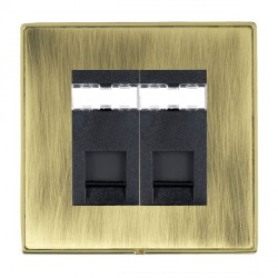 Hamilton Linea-Duo CFX Polished Brass/Antique Brass 2 Gang RJ12 Outlet Unshielded with Black Insert