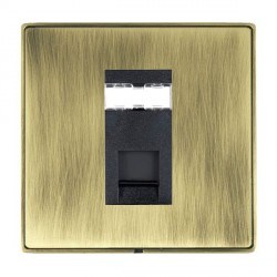 Hamilton Linea-Duo CFX Antique Brass/Antique Brass 1 Gang RJ12 Outlet Unshielded with Black Insert