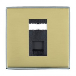 Hamilton Linea-Duo CFX Bright Chrome/Polished Brass 1 Gang RJ45 Outlet Cat 5e Unshielded with Black Insert