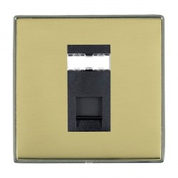 Hamilton Linea-Duo CFX Black Nickel/Polished Brass 1 Gang RJ45 Outlet Cat 5e Unshielded with Black Insert