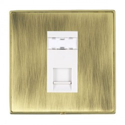 Hamilton Linea-Duo CFX Polished Brass/Antique Brass 1 Gang RJ45 Outlet Cat 5e Unshielded with White Insert