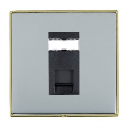 Hamilton Linea-Duo CFX Polished Brass/Bright Steel 1 Gang RJ45 Outlet Cat 5e Unshielded with Black Insert
