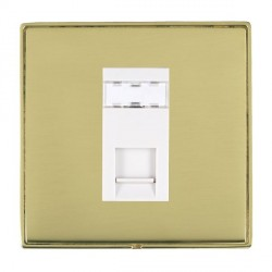 Hamilton Linea-Duo CFX Polished Brass/Polished Brass 1 Gang RJ45 Outlet Cat 5e Unshielded with White Insert
