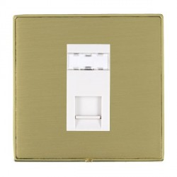 Hamilton Linea-Duo CFX Polished Brass/Satin Brass 1 Gang RJ45 Outlet Cat 5e Unshielded with White Insert