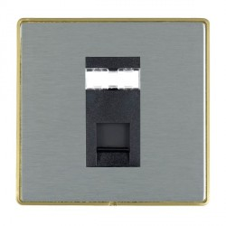 Hamilton Linea-Duo CFX Satin Brass/Satin Steel 1 Gang RJ45 Outlet Cat 5e Unshielded with Black Insert