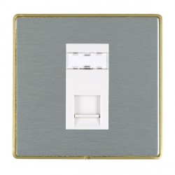 Hamilton Linea-Duo CFX Satin Brass/Satin Steel 1 Gang RJ45 Outlet Cat 5e Unshielded with White Insert