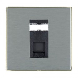 Hamilton Linea-Duo CFX Satin Nickel/Satin Steel 1 Gang RJ45 Outlet Cat 5e Unshielded with Black Insert