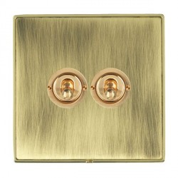 Hamilton Linea-Duo CFX Polished Brass/Antique Brass 2 Gang 2 Way Dolly with Polished Brass Insert