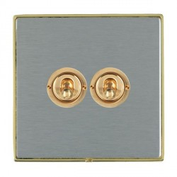Hamilton Linea-Duo CFX Polished Brass/Satin Steel 2 Gang 2 Way Dolly with Polished Brass Insert