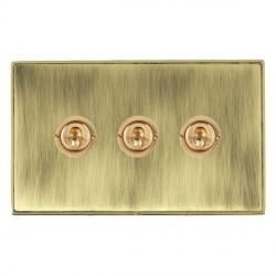 Hamilton Linea-Duo CFX Polished Brass/Antique Brass 3 Gang 2 Way Dolly with Polished Brass Insert