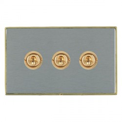 Hamilton Linea-Duo CFX Polished Brass/Satin Steel 3 Gang 2 Way Dolly with Polished Brass Insert