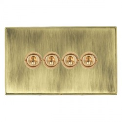 Hamilton Linea-Duo CFX Polished Brass/Antique Brass 4 Gang 2 Way Dolly with Polished Brass Insert