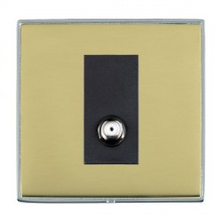 Hamilton Linea-Duo CFX Bright Chrome/Polished Brass 1 Gang Non Isolated Digital Satellite with Black Insert