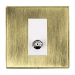 Hamilton Linea-Duo CFX Polished Brass/Antique Brass 1 Gang Non Isolated Digital Satellite with White Insert