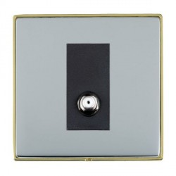 Hamilton Linea-Duo CFX Polished Brass/Bright Steel 1 Gang Non Isolated Digital Satellite with Black Insert