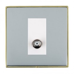 Hamilton Linea-Duo CFX Polished Brass/Bright Steel 1 Gang Non Isolated Digital Satellite with White Insert