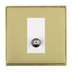 Hamilton Linea-Duo CFX Polished Brass/Polished Brass 1 Gang Non Isolated Digital Satellite with White Insert