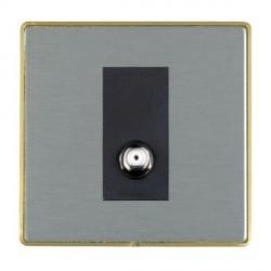 Hamilton Linea-Duo CFX Satin Brass/Satin Steel 1 Gang Non Isolated Digital Satellite with Black Insert