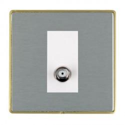 Hamilton Linea-Duo CFX Satin Brass/Satin Steel 1 Gang Non Isolated Digital Satellite with White Insert